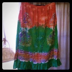 Boho Bohemian the dye Gypsy Skirt XL